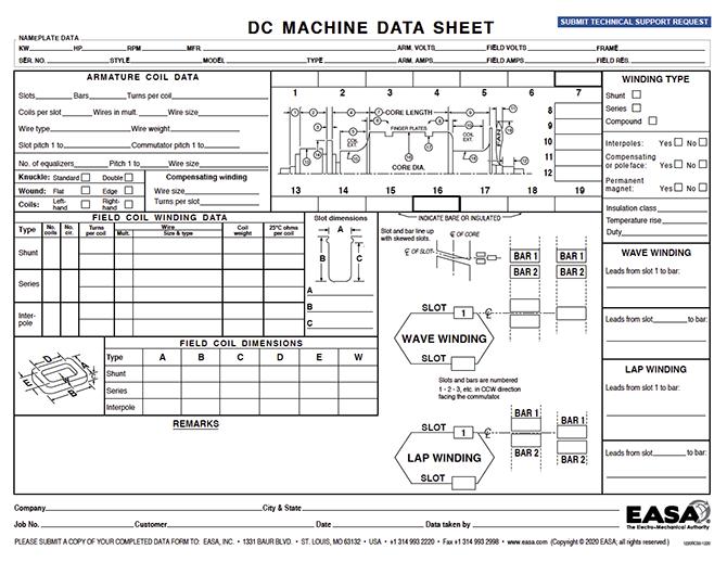 DC machine data form