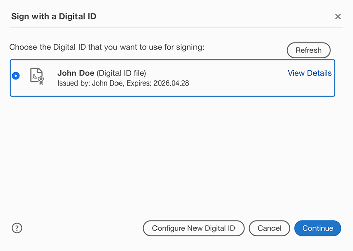 Select the digital ID